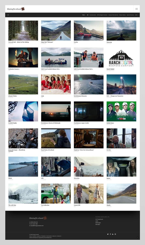 Website design for Filming Scotland | Edinburgh