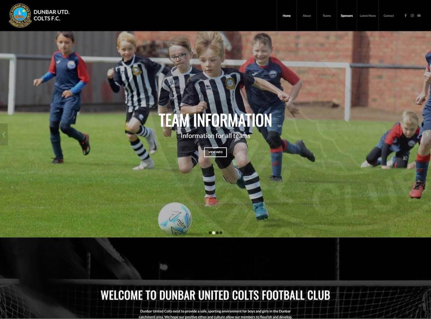 Web design for Dunbar United Colts F.C. Dunbar