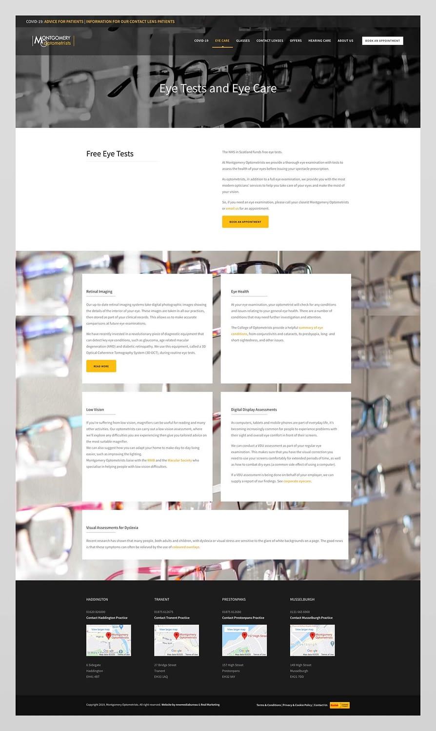 Website design for Montgomery Optometrists | Haddington