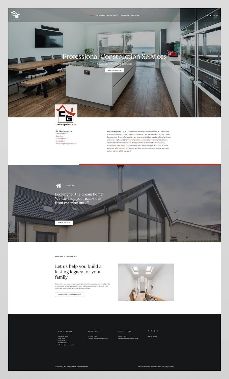 Web design for C&G Development Ltd based in Dunbar, East Lothian and serving across Edinburgh