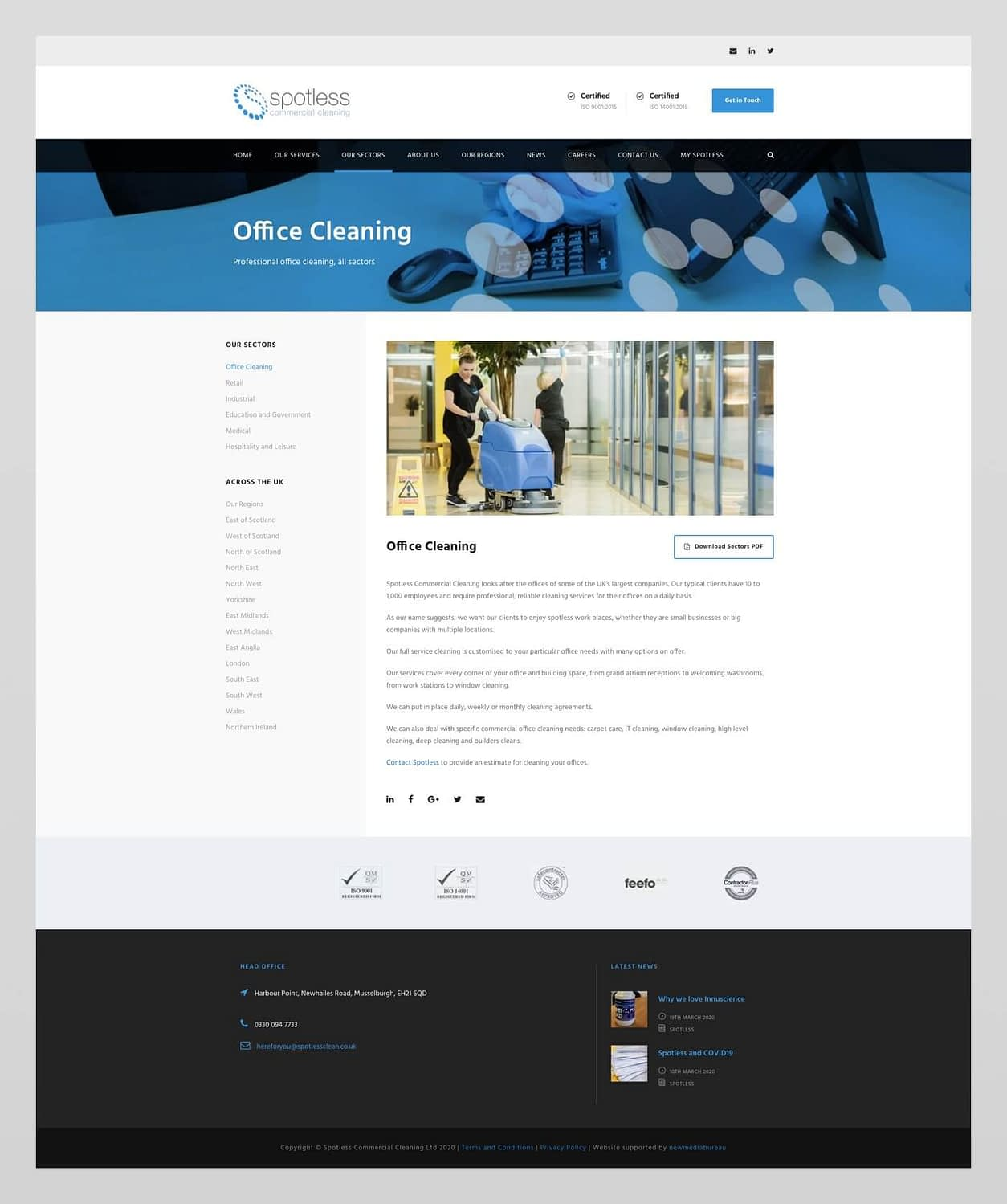 Website design for Spotless Cleaning Company | Edinburgh