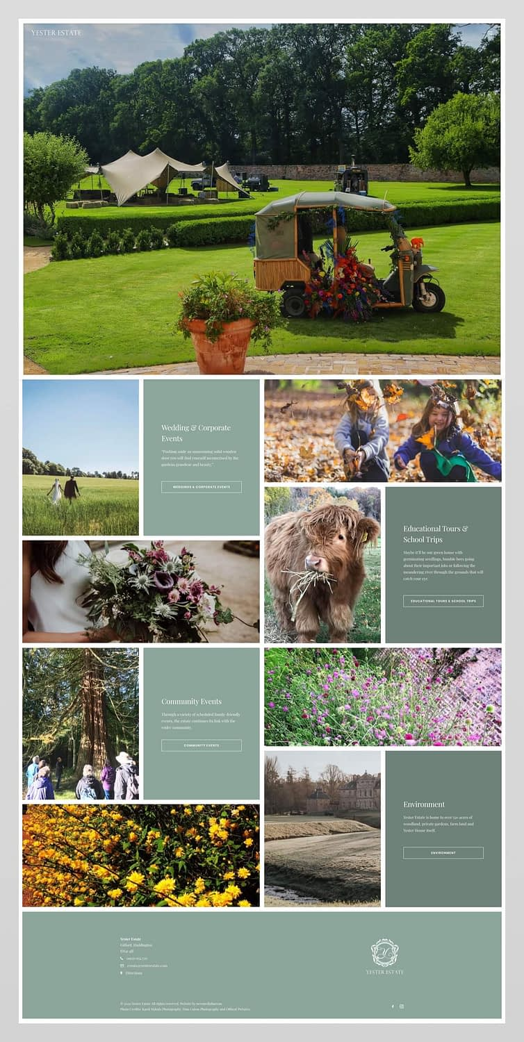 Website design for Yester Estate, Gifford, East Lothian