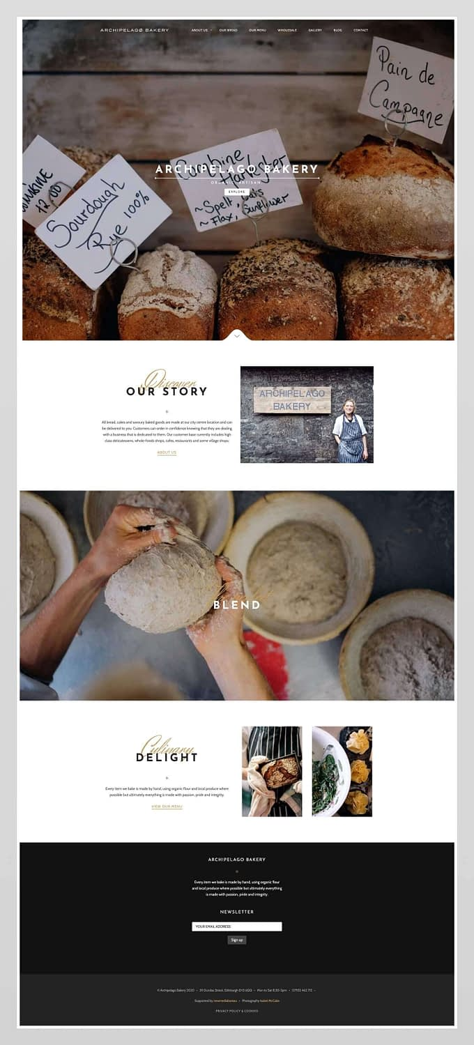 Website design for Archipelago Bakery | Edinburgh