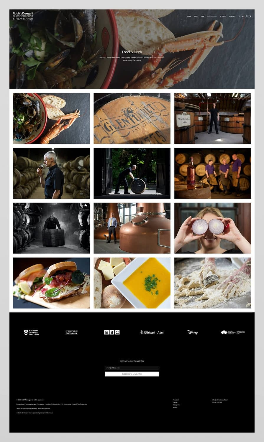 Web design for Rob McDougall Photographer & Film Maker, based in Edinburgh and East Lothian