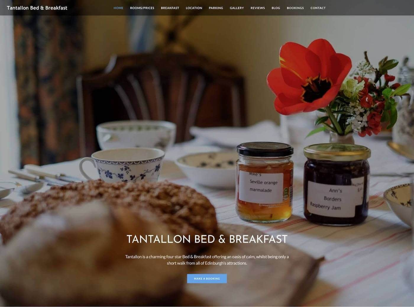 Web design for Tantallon Place B&B, Edinburgh