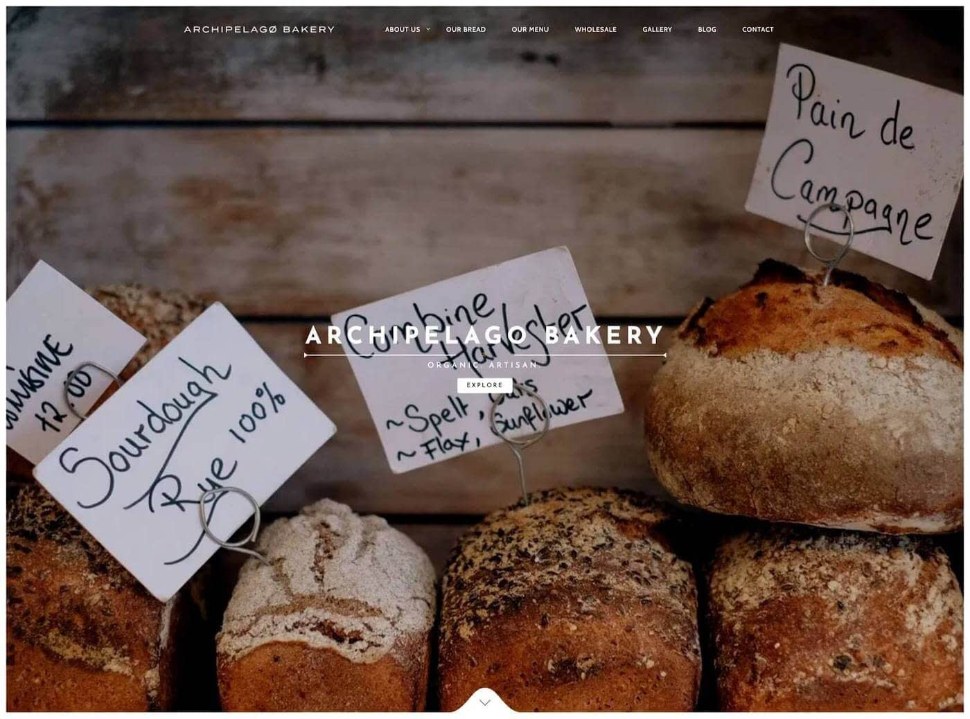 Web design for Archipelago Bakery, Edinburgh