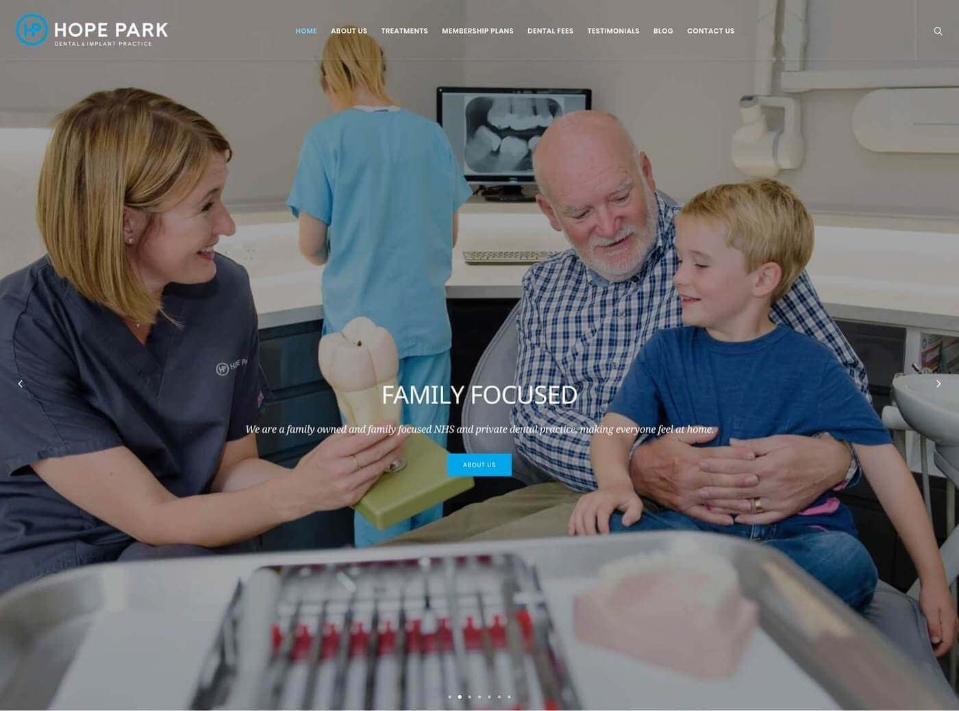 Web design for Hope Park Dental Practice, Edinburgh